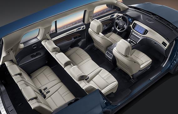 A spacious interior allows for 7 seats arranged in 3 rows